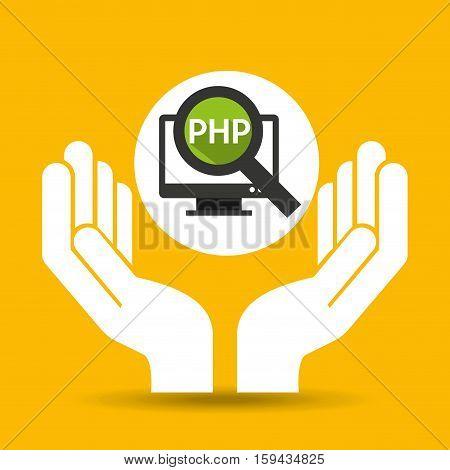 hand optimization technology php computer vector illustration eps 10
