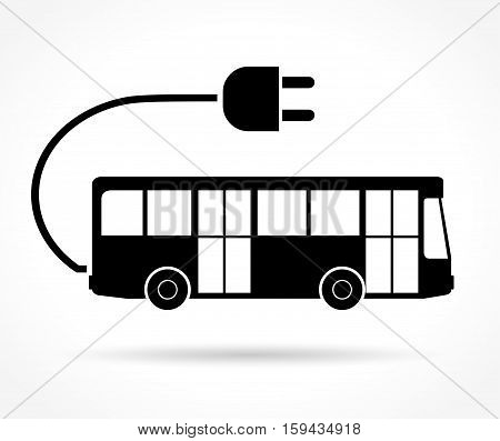 Illustration of electric bus icon on white background