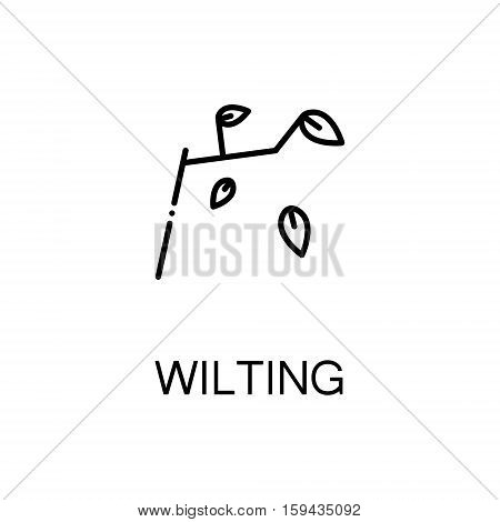 Wilting flat icon. Single high quality outline symbol of autumn for web design or mobile app. Thin line signs of tree and leave for design logo, visit card, etc. Outline pictogram of wilting