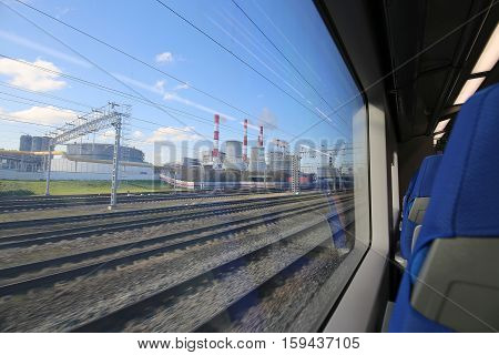 View Of Moscow From The Window Of The Modern High-speed Train