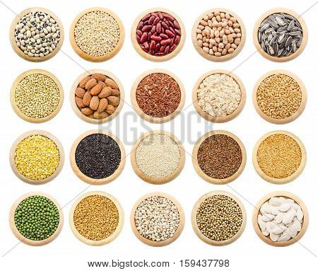 Dried grains peas and rice collection isolated over white background.