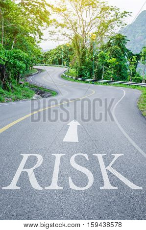 Red Risk written on S curve road in the green view.