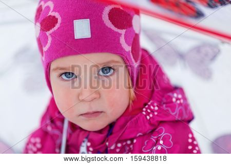 Portrait Of Pretty Girl Near Christmas Tree, Winter,
