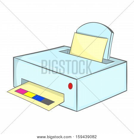 Printer with paper icon. Cartoon illustration of printer with paper vector icon for web design