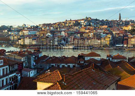 View of Douro river, Ribeira at old town Porto from Villa Nova de Gaia, Portugal.