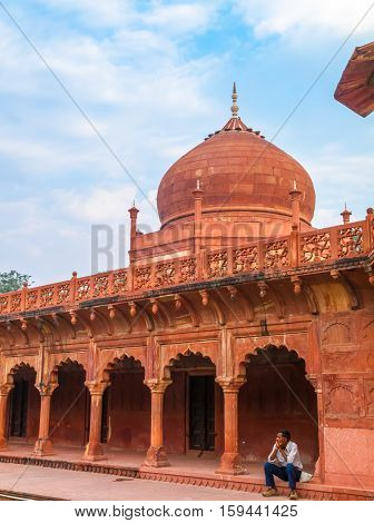 Agra Fort Agra India - Oct 14 2009: Mughal architecture near the Taj Mahal in Agra India.