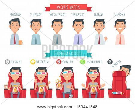 Man during work week. Male face at Monday, Tuesday, Wednesday, Thursday, Friday, Sunday. Cinemaddict. Boy with popcorn at drama, detective, comedy, adventure horror Vector illustration at flat style