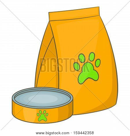 Bag of food for pets and food bowl and icon. Cartoon illustration of bag of food for pets and food bowl vector icon for web