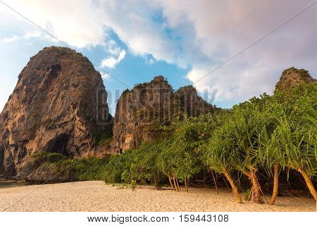 Tropical beach, vegetation and cliffs in Ao Nang, Krabi province, Thailand