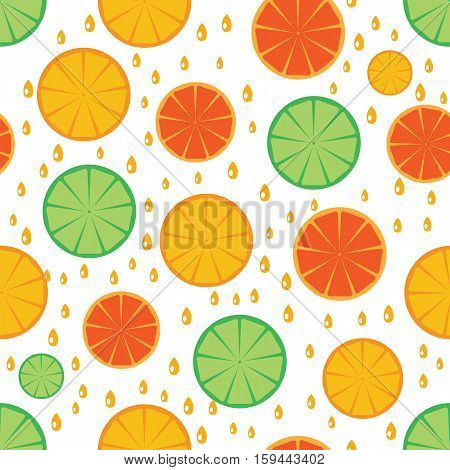 Citrus Slices Seamless Pattern Background.