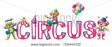 Font design for word circus illustration