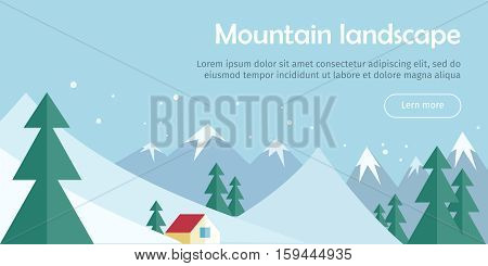 Mountain landscape web banner. Skiing scenery design. Extreme hills in snowy outdoor high mountains. Sport season environment. Winter holiday resort activity. Blue sky and crystal white snow. Vector