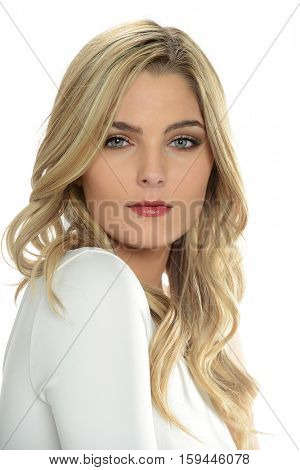 Portrait of young beautiful woman isolated on a white background