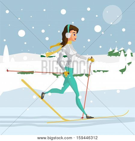 Pretty young woman on cross country skiing running in the woods on a snowy day. Flat cartoon vector illustration