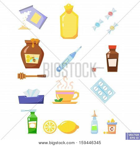 Lovely Set Of Cold And Flu Season Items In Trendy Vector Flat Design Featuring Tissue, Hot Beverage
