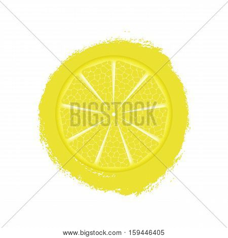 Print With Lemon Isolated On White Background