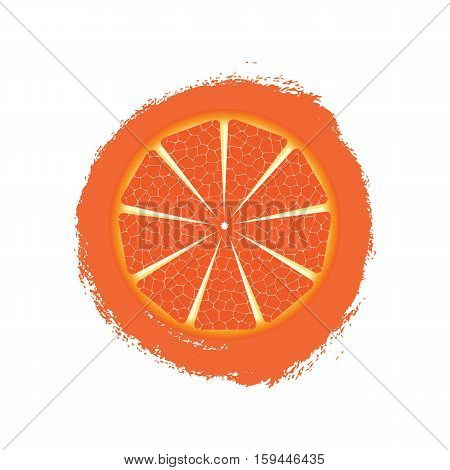 Print With Grapefruit Isolated On White Background