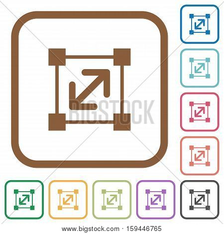 Resize element simple icons in color rounded square frames on white background