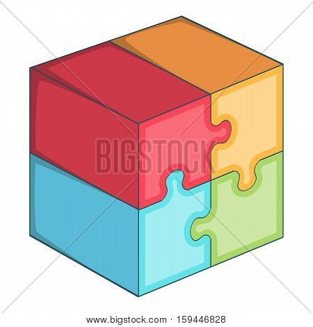 Puzzle cube icon. Cartoon illustration of puzzle cube vector icon for web