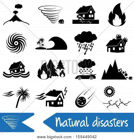 Various Natural Disasters Problems In The World Icons Eps10