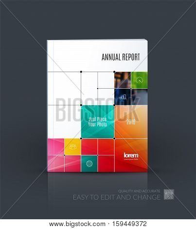 Business vector. Brochure template layout, cover design annual report, magazine, flyer in A4 with colourful rectangular shapes, squares, lines, rounds for IT, business, building. Abstract