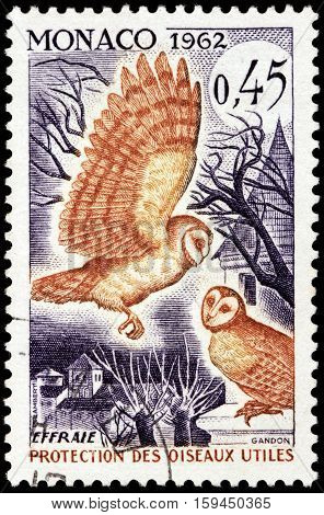 LUGA RUSSIA - NOVEMBER 29 2016: A stamp printed by MONACO shows barn owl (Tyto alba) - the most widely distributed species of owl and one of the most widespread of all birds circa 1962