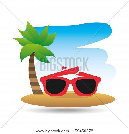 tropical vacation beach sunglasses accesorie vector illustration eps 10