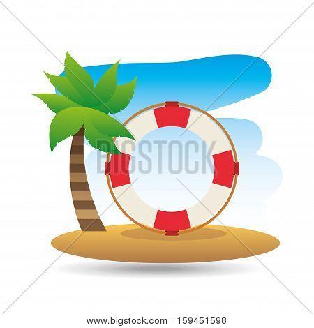 tropical vacation beach life buoy icon vector illustration eps 10
