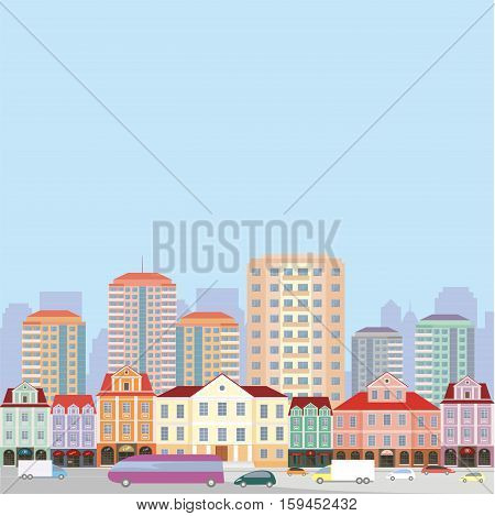 The image of a winter city. Snow-covered streets with small old houses and high-rise buildings in the background. Vector illustration