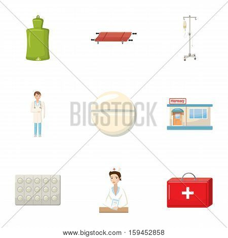 Medicine help icons set. Cartoon illustration of 9 medicine help vector icons for web