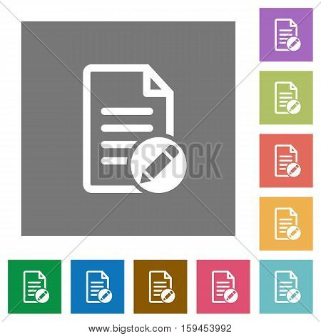 Rename document flat icons on simple color square background.