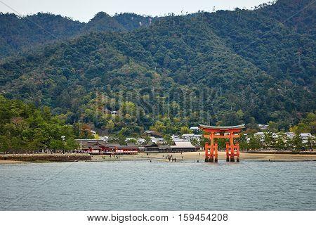 View Of Torii Gate In Miyajima, Japan