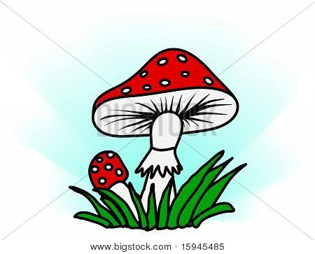 Amanita In Grass - Simple Illustration