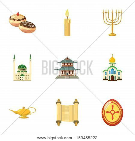 Faith icons set. Cartoon illustration of 9 faith vector icons for web