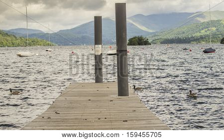 The jetty heading out into Lake Windemere