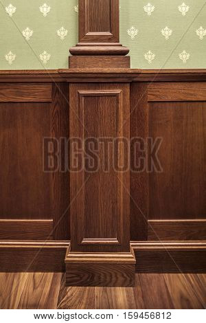 wall Interior decoration classic oaken wall paneling