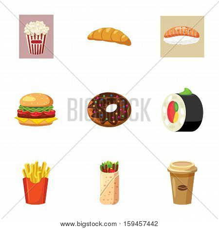 Quick snack icons set. Cartoon illustration of 9 quick snack vector icons for web