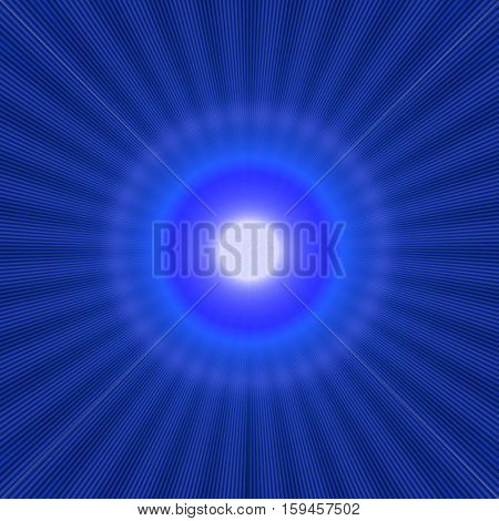 blue halo effect with shiny rays and bright light in the center