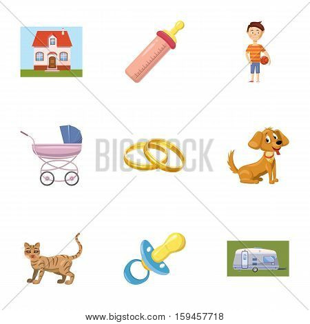 Family child icons set. Cartoon illustration of 9 family child vector icons for web