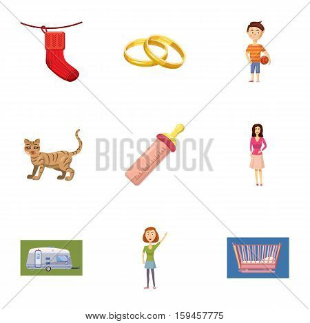 Family kid icons set. Cartoon illustration of 9 family kid vector icons for web