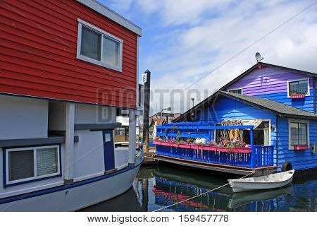 Floating houses in Fisherman's Wharf in Victoria