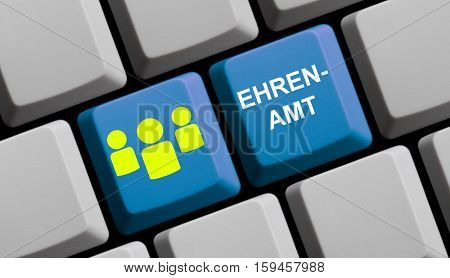 Blue computer keyboard with symbol showing Volunteering