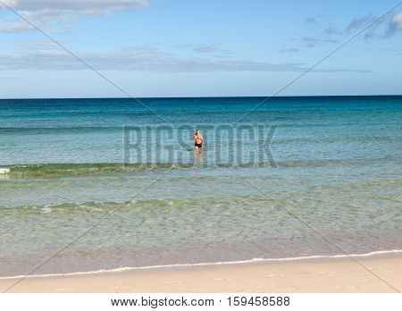 FUERTEVENTURA, SPAIN - SEPTEMBER 15, 2015: Corralejo Beach on Fuerteventura Canary Islands Spain