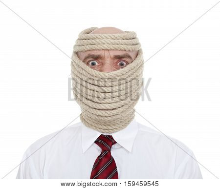 businessman with wrapped face on white background
