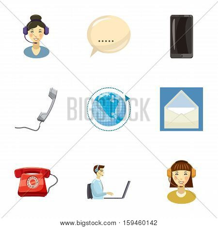 Round clock support icons set. Cartoon illustration of 9 round clock support vector icons for web