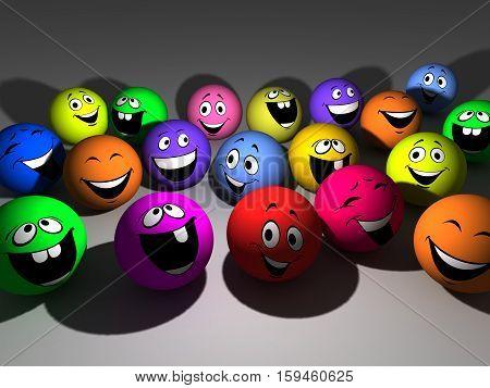 3D illustration group varicoloured smiling balls on gray background