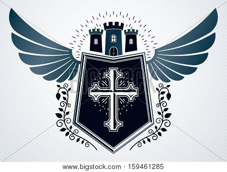 Heraldic Vintage Vector Design Element. Retro Style Label Created Using Medieval Stronghold, Christi