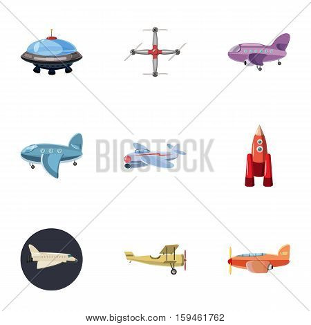 Air transport icons set. Cartoon illustration of 9 air transport vector icons for web