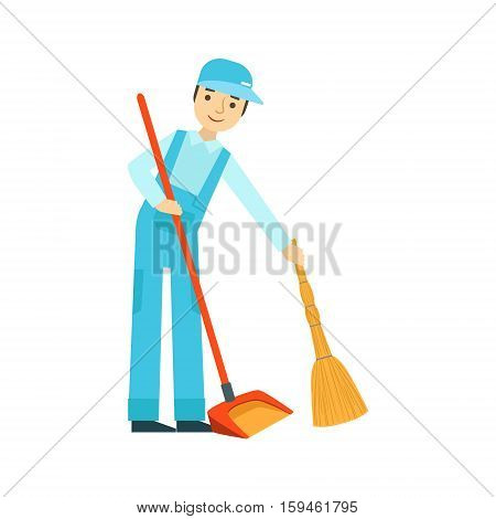 Man With Broom And Duster Sweeping The Floor, Cleaning Service Professional Cleaner In Uniform Cleaning In The Household. Person Working In Housekeeping At Work Doing Clean Up Vector Illustration.