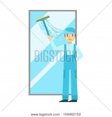 Man With Squeegee Washing Window, Cleaning Service Professional Cleaner In Uniform Cleaning In The Household. Person Working In Housekeeping At Work Doing Clean Up Vector Illustration.